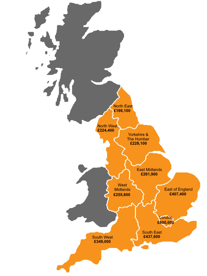 First Time Buyers New Build Scheme UK Map Showing Regional Areas and Price Caps - Willowlace Ltd